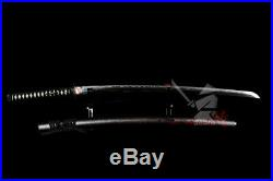 Clay tempered OROSHIGANE STEEL blade japanese samurai katana iron nakago tsuba