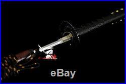 Clay tempered t-10 folded steel japanese samurai katana iron flower tsuba sword