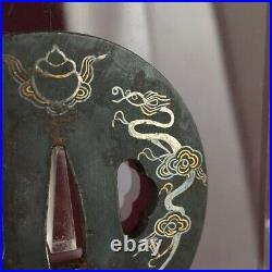 D1212 Japanese Edo Samurai Ryugu castle Amaryu Dragon IRON TSUBA katana koshirae
