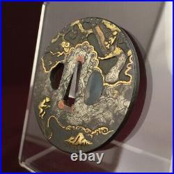 D1266 Japanese Edo Samurai TEKKAI SENNIN&TEMPEST INLAY TSUBA katana koshirae