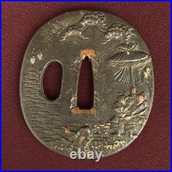 D1348 Japanese Edo Samurai HISTORIC IRON TSUBA katana koshirae Nobunaga Yasuke