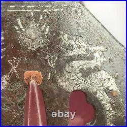 D1546 Japanese Edo Samurai SILVER INLAY NANBAN IRON DAISHO TSUBA katana koshirae