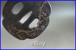 Daisho Tsuba bamboo ume tree Japanese Samurai sword fitting katana Edo withbox