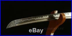 Damascus Folded Steel Clay Tempered Iron Tsuba Japanese Samurai Sword Katana