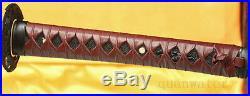 Damascus Steel Clay Tempered Red Japanese Samurai Sword Katana Iron Tsuba