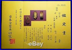EXCELLENT Certificated FUCHI KASHIRA SIGNED Japanese Edo 17th C Antique C621