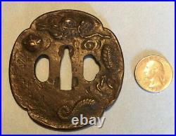 Edo Era Japanese Iron And Gold Inlay Mito School Tsuba/Sword Katana Guard