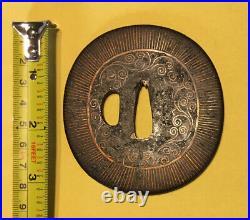 Edo era, C. 1600 to 1650, Japanese iron Tsuba, Heianjo- Kaga Zogan, Brass Inlay