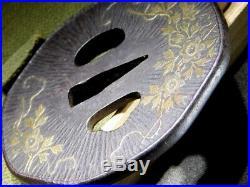 FINE Inlay KATANA TSUBA Flowers 18-19thC Japanese Edo Antique Koshirae Fitting