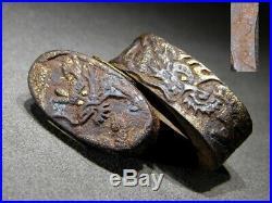 FINE JAKUSHI SIGNED Dragon FUCHI/KASHIRA 18-19thC Japanese Edo Antique Koshirae