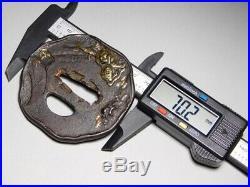 FINE Tiger TSUBA 18/19C Japanese Edo Original Sword Antique Koshirae