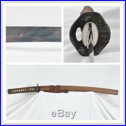 Feathered-Pattern Japanese Wakizashi Folded Steel Antiqued Iron Tsuba Full Tang