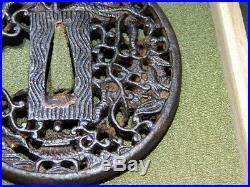 Fine Open Work Dragon TSUBA 18-19thC Japanese Edo Antique Koshirae Fitting