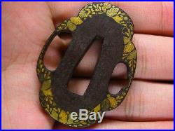 Fine TANTO TSUBA 18-19th C Japanese Edo Antique Koshirae fitting Leaves 488c