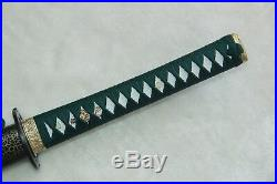 Folded Steel Damascus Japanese KATANA Sword Iron Tsuba Sharp Blade Full Tang