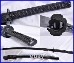 Full Tang All Black Samurai Sword Katana Damascus Steel Sharp Blade Iron Tsuba