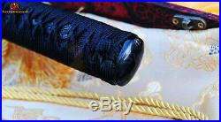 Full Tang Japanese Sword Ninjato Damascus Folded Steel Sharp Black Iron Tsuba