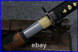 Full Tang Sword Tanto Rosewood 1095 Carbon Steel Blade Rose Wood Iron Tsuba