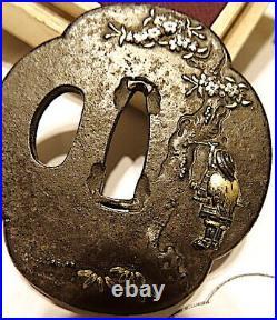 Hammered Mokko Iron Tsuba, Silver, Gold, Copper, Waterfall Man Using Drinking Ladle