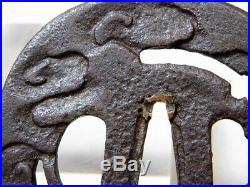 Iron KATANA Tsuba Clouds Openwork 18/19C Japanese Edo Original Antique koshirae