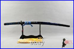 Iron Musashi Tsuba Samurai Katana Blue Dragon Engraved Saya Sharp Japanese Sword