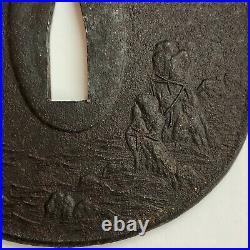 Iron TSUBA, Japanese Samurai Sword Guard, Edo Antique, Crane and Wedded Rocks