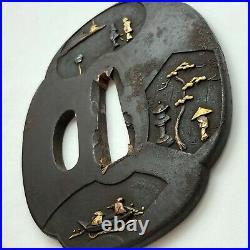 Iron Tsuba, Japanese Samurai Sword Guard, Edo Antique, Street Scene Gold Inlaid