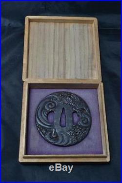 Iron Tsuba Japanese Samurai sword Katana Koshirae guard flying dragon Antique