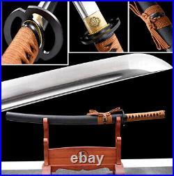 Iron Tsuba Japanese Wakizashi Sword Samurai Katana 1095Carbon Steel Sharp Knife