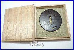 JAPANESE SWORD FITTING=NERI TSUBA SPOOL& Certificate / =Bushu ju Masahide