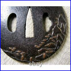 Japanese Antique Edo Era Iron Tsuba Sansuibun Katana Rare Samurai Used