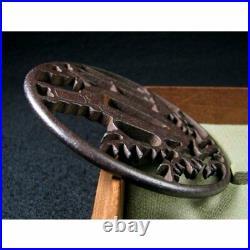 Japanese Antique Edo Era Iron ground watermark tsuba Higo Katana Rare Samurai
