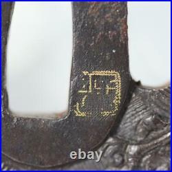 Japanese Antique Iron Tsuba Dragon Tsuba with box STO68