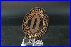 Japanese Antique Iron Tsuba Mokkougata dragons Gold STO62