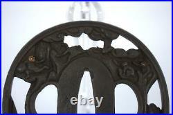Japanese Antique Iron Tsuba monkeys Hikonezumi Munenori w / box STO64