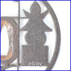 Japanese Antique Iron Tsuba sukashi Fairly large maximum 4.13 in STO70