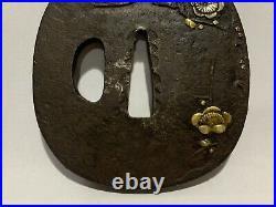 Japanese Antique Samurai Armor TSUBA Katana SwordHilt Flower Gold Inlay(b710)/