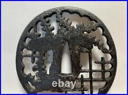 Japanese Antique Samurai Iron OpenWork TSUBA Katana design (b385) /20