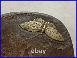 Japanese Antique Samurai Iron TSUBA Katana Butterfly and Cricket design (b379)