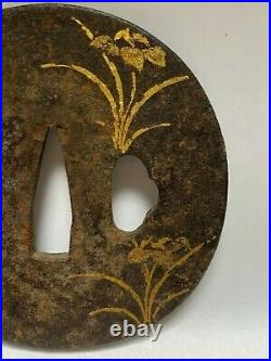 Japanese Antique Samurai Iron TSUBA Katana Gold Flower Inlay design (b395) /20
