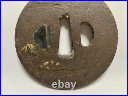 Japanese Antique Samurai Iron TSUBA Katana Sword Gold inlay(b478)