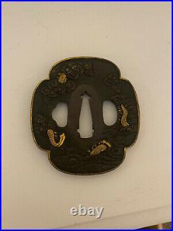 Japanese Antique Samurai Iron TSUBA Katana Sword Hilt Dragon Old Monk Steel Gold