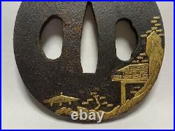 Japanese Antique Samurai Iron TSUBA Katana Sword Hilt Gold Inlay (b457)