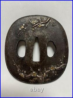 Japanese Antique Samurai Iron TSUBA Katana Sword Hilt Japanese Apricot (b417)