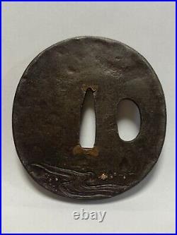 Japanese Antique Samurai Iron TSUBA Katana Sword Monk Design (b476)