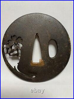 Japanese Antique Samurai OpenWork TSUBA Sakura Design Katana Sword Hilt (b440)