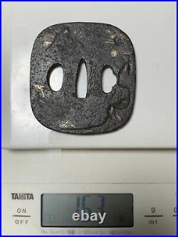 Japanese Antique Samurai Signed TSUBA Katana Sword Hilt (b481)