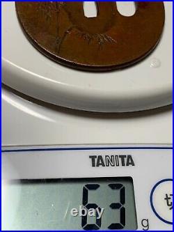 Japanese Antique Samurai Signed TSUBA Katana Sword Hilt(b845)