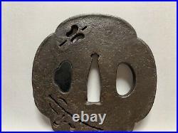 Japanese Antique Samurai Signed TSUBA Katana Sword Hiltb640/11