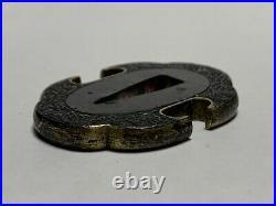 Japanese Antique Samurai Small TSUBA Katana Sword Hilt (b415)/